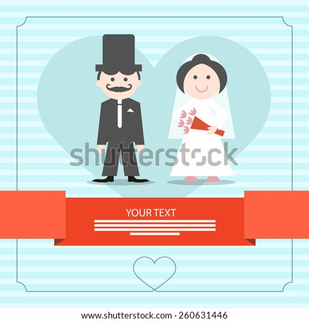 Retro Blue Wedding Card Vector Illustration with Groom and Bride