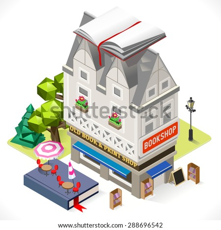 Retro Book Shop Building with a Big Book at the Top. 3D Tile for Your Own Isometric Game App. Tint Vector Isometric Icon.