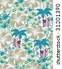 Retro botanical garden in  seamless pattern - stock vector