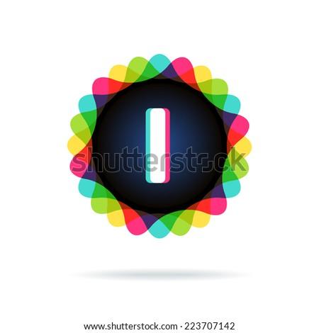 Retro bright colors Logotype, Letter I - stock vector