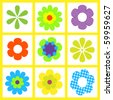 retro brigt flower vector  illustration - stock vector