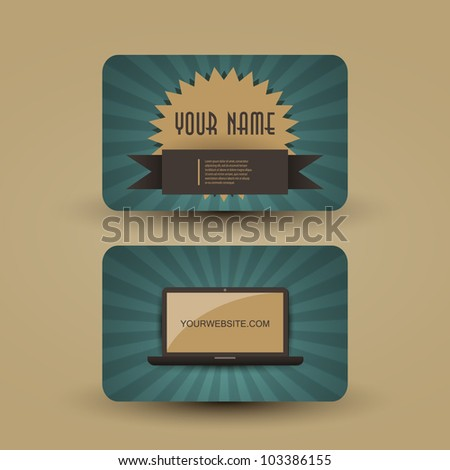 Retro business card template stock vector 103386155 shutterstock retro business card template accmission Gallery
