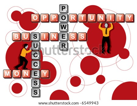 retro business tile word play and men (vector) - stock vector