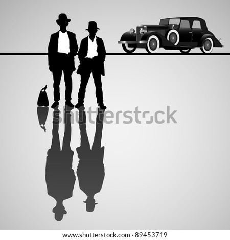 Retro businessmen with retro car. Vector illustration - stock vector