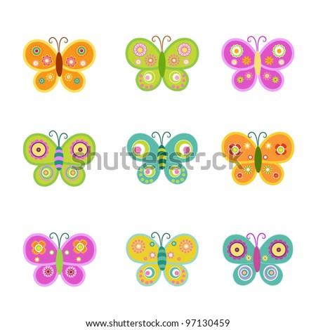 Retro Butterflies - stock vector