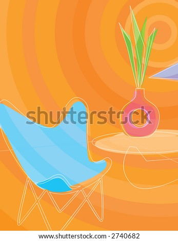 Retro Butterfly Chair - stock vector