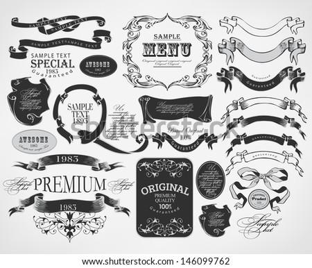 Retro calligraphic design elements and page decoration/ vector set/ design illustration - stock vector