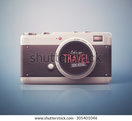 Retro camera, let's go travel, eps 10 - stock vector