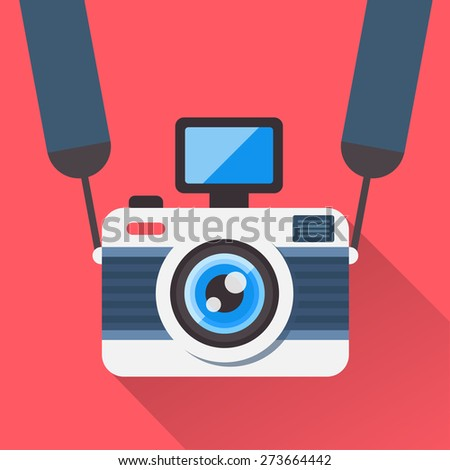Retro camera on a strap in a flat style. Camera image on a red background shading with a shadow. Fully editable vector illustration. - stock vector