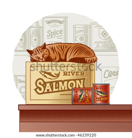 Retro canned fish and sleeping cat. Vector - stock vector