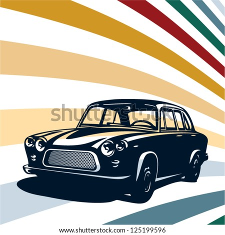 Retro car background - stock vector