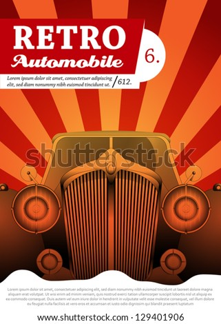 Retro car background design - stock vector