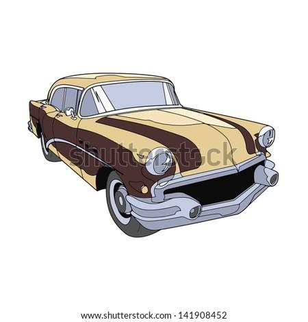 retro car brown - stock vector