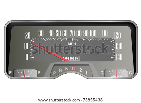 Retro car dashboard - vintage speedometer vector - stock vector