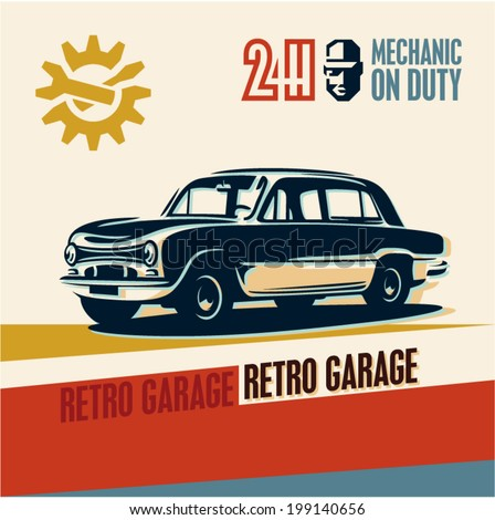 Retro car garage poster - stock vector