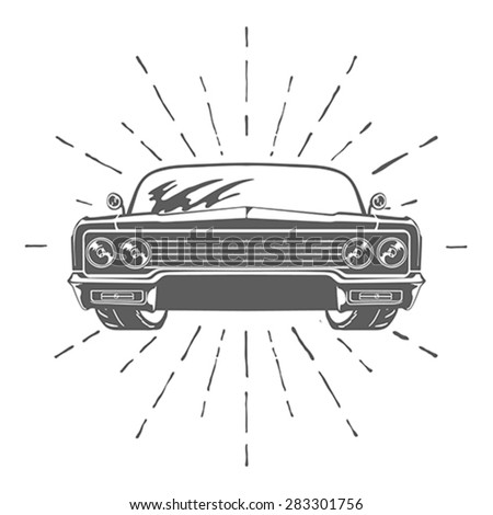 Retro car isolated on white background vector illustration  - stock vector