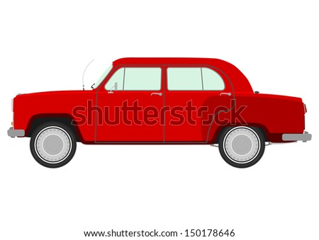 Retro car on a white background. - stock vector