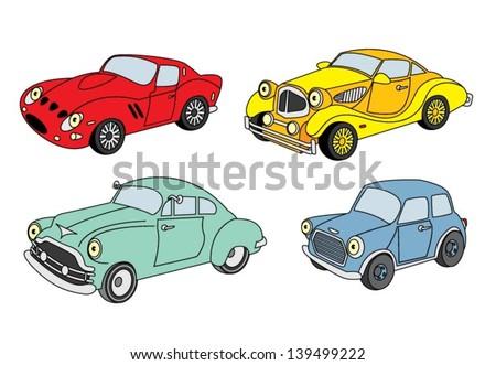 Retro car set - stock vector