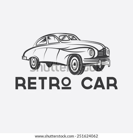 retro car vector design template - stock vector