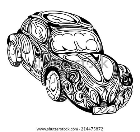 Retro car. Vector sketch illustration. - stock vector