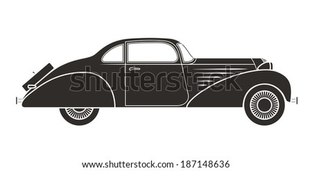 Retro car, vintage collection, classic garage sign, vector illustration background, can be used for design, card, infographics