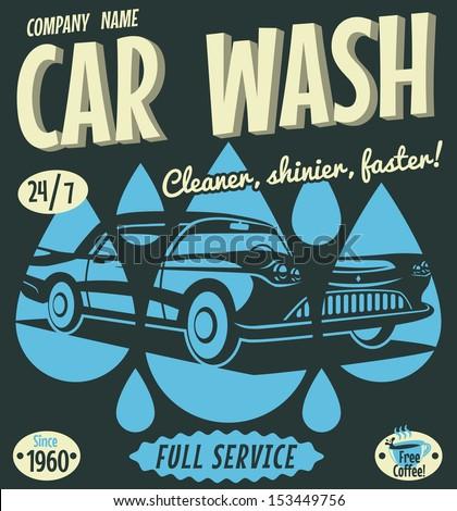 Retro car wash sign. Vector illustration. - stock vector