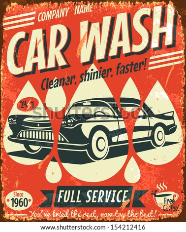 Retro car wash sign. Vector illustration. - stock vector