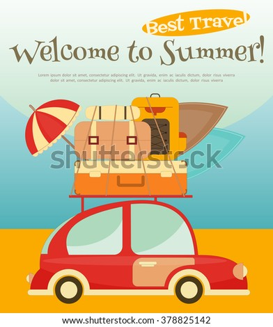 Retro Car with Luggage on Roof. Travel Car on the Beach. Vector Illustration. - stock vector