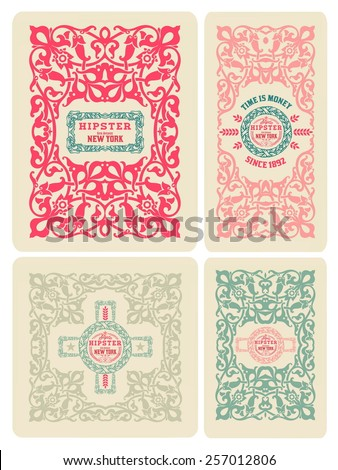 Retro card design set - stock vector
