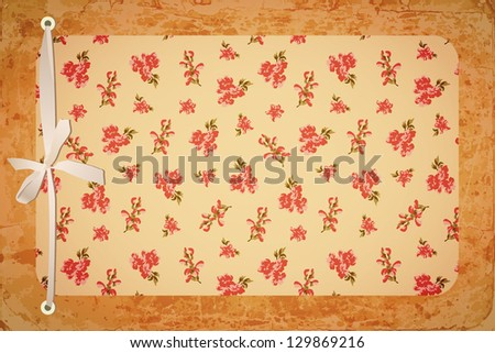 Retro card from floral background and old paper texture with cottage style - stock vector
