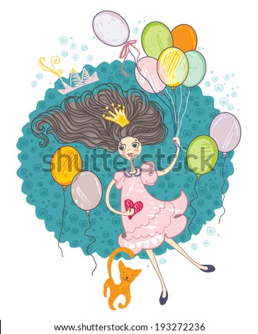 Retro card. Girl with colorful balloons.  - stock vector