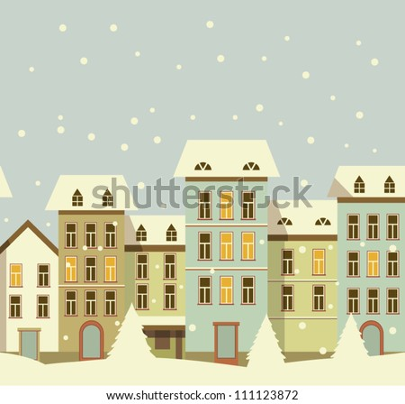 Retro Card. Winter christmas houses in old city