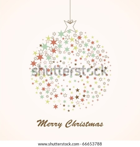 Retro card with Christmas ball - stock vector