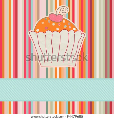 Retro card with cupcake. EPS 8 vector file included - stock vector