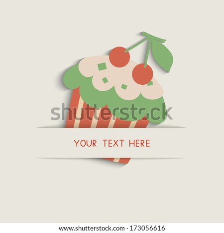 Retro card with cupcake. Vector illustration. EPS10.  - stock vector