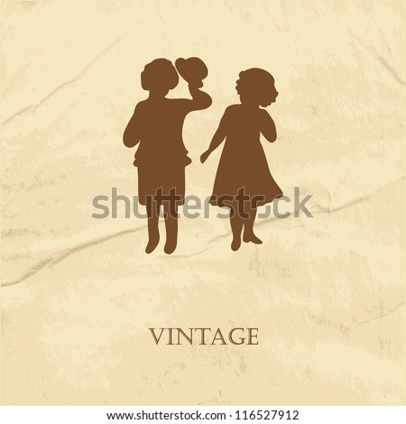 Retro card  with silhouette of two cute babies on the grunge paper background - stock vector