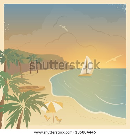 Retro card with the sailboat and a beach in a beautiful bay with palm trees at sunset - stock vector