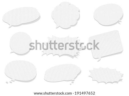 retro cardboard bubbles speech Vector - stock vector
