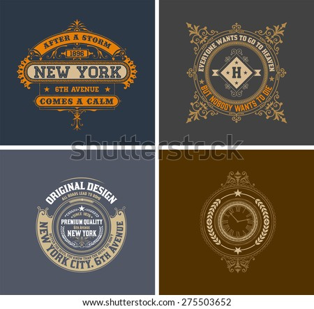 Retro cards. Business sign, identity for Restaurant, Royalty, Boutique, Cafe, Hotel, Heraldic, Fashion and other vector illustration - stock vector