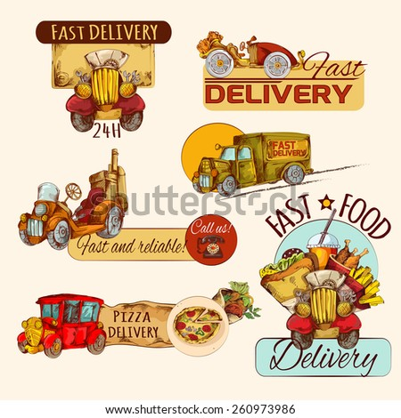 Retro cars fast food delivery hand drawn emblems set isolated vector illustration - stock vector
