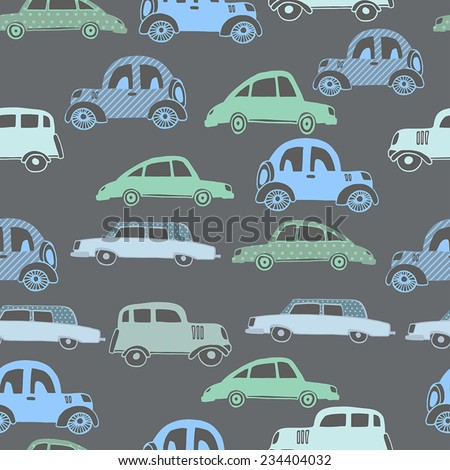 Retro cars seamless pattern  - stock vector