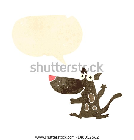 retro cartoon dog with speech bubble - stock vector