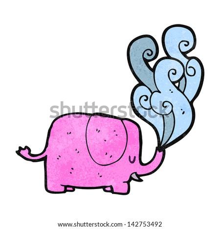 retro cartoon elephant - stock vector