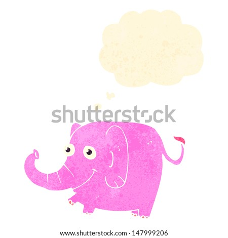 retro cartoon elephant with thought bubble - stock vector