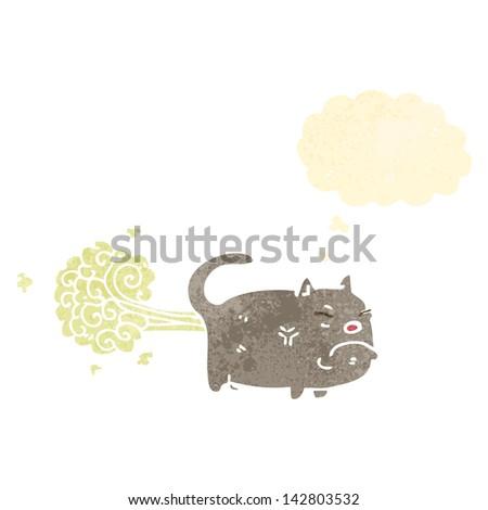 retro cartoon,farting cat - stock vector