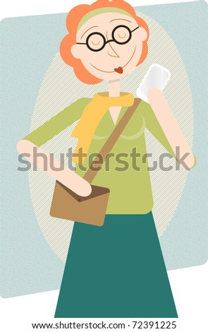 Retro cartoon female hipster mom modern woman holding up cell phone happy editable vector illustration