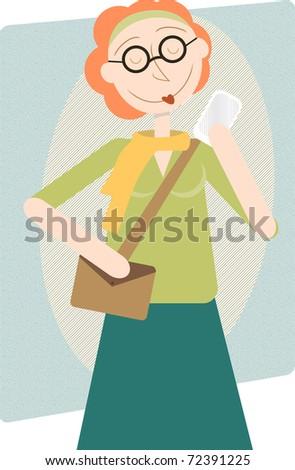 Retro cartoon female hipster mom modern woman holding up cell phone happy editable vector illustration - stock vector