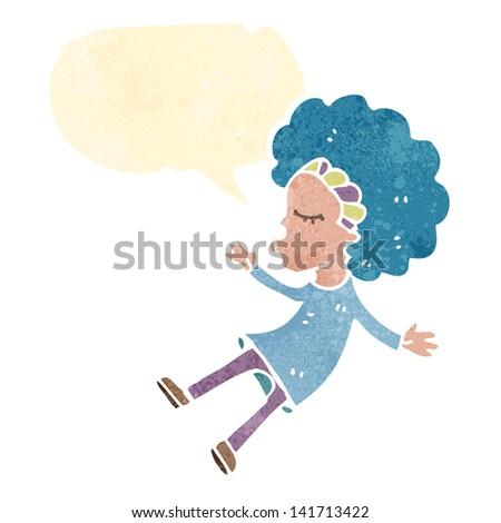 retro cartoon girl with blue hair - stock vector