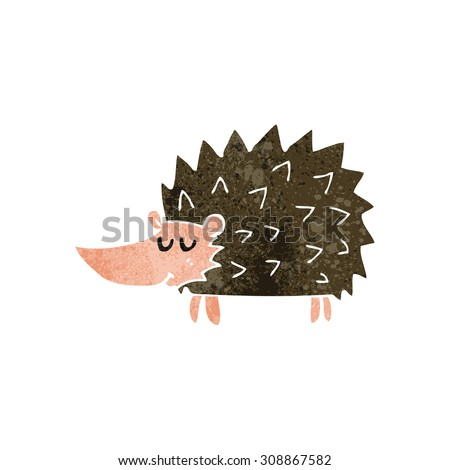 retro cartoon hedgehog - stock vector