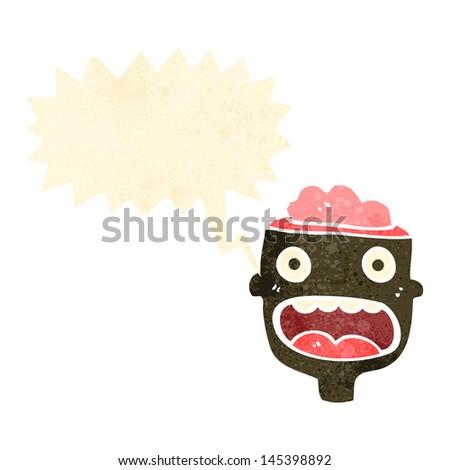 retro cartoon man with exposed brain - stock vector